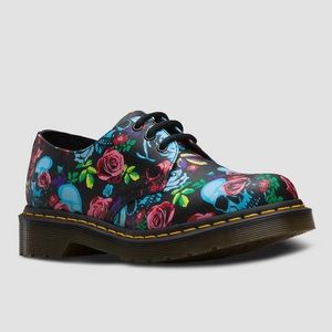 Dr Martens 1461 Rose Skull Shoes Ladies Size 5 New